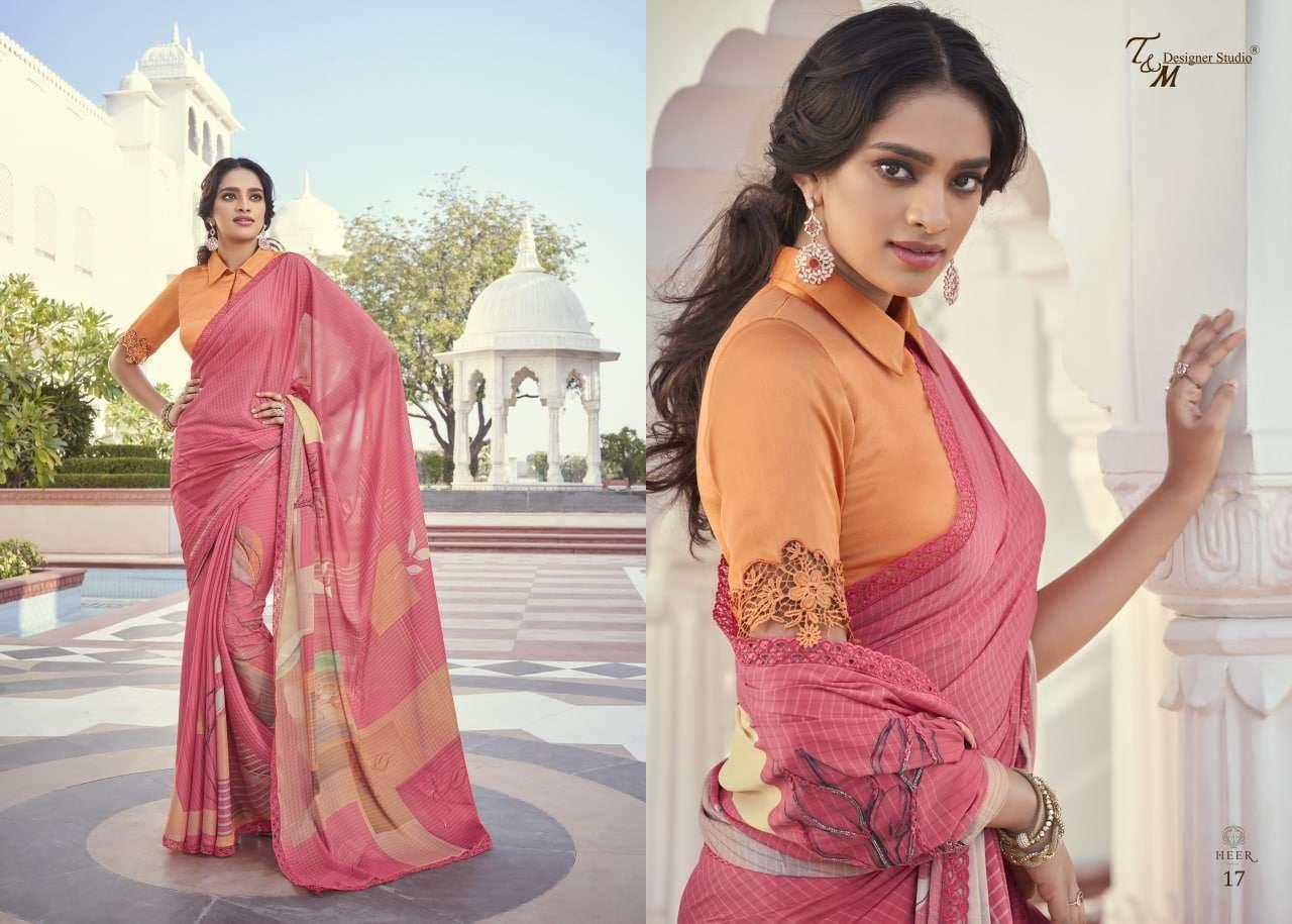 T&M Designer Studio Heer Fancy Designer Party Wear Sarees Collection 17