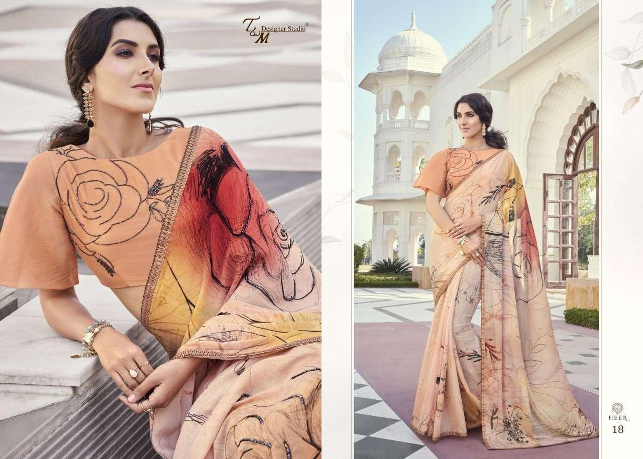 T&M Designer Studio Heer Fancy Designer Party Wear Sarees Collection 18