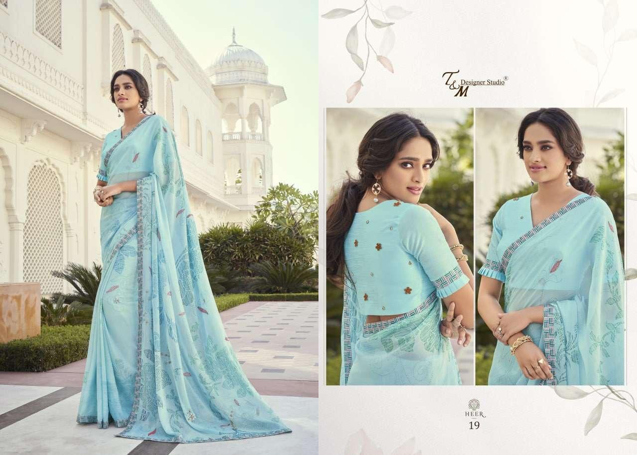 T&M Designer Studio Heer Fancy Designer Party Wear Sarees Collection 19