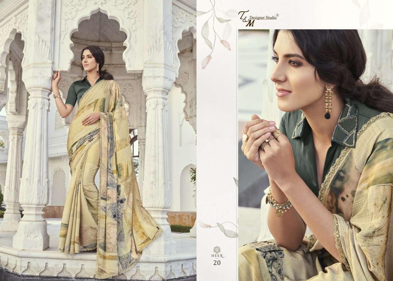T&M Designer Studio Heer Fancy Designer Party Wear Sarees Collection 20