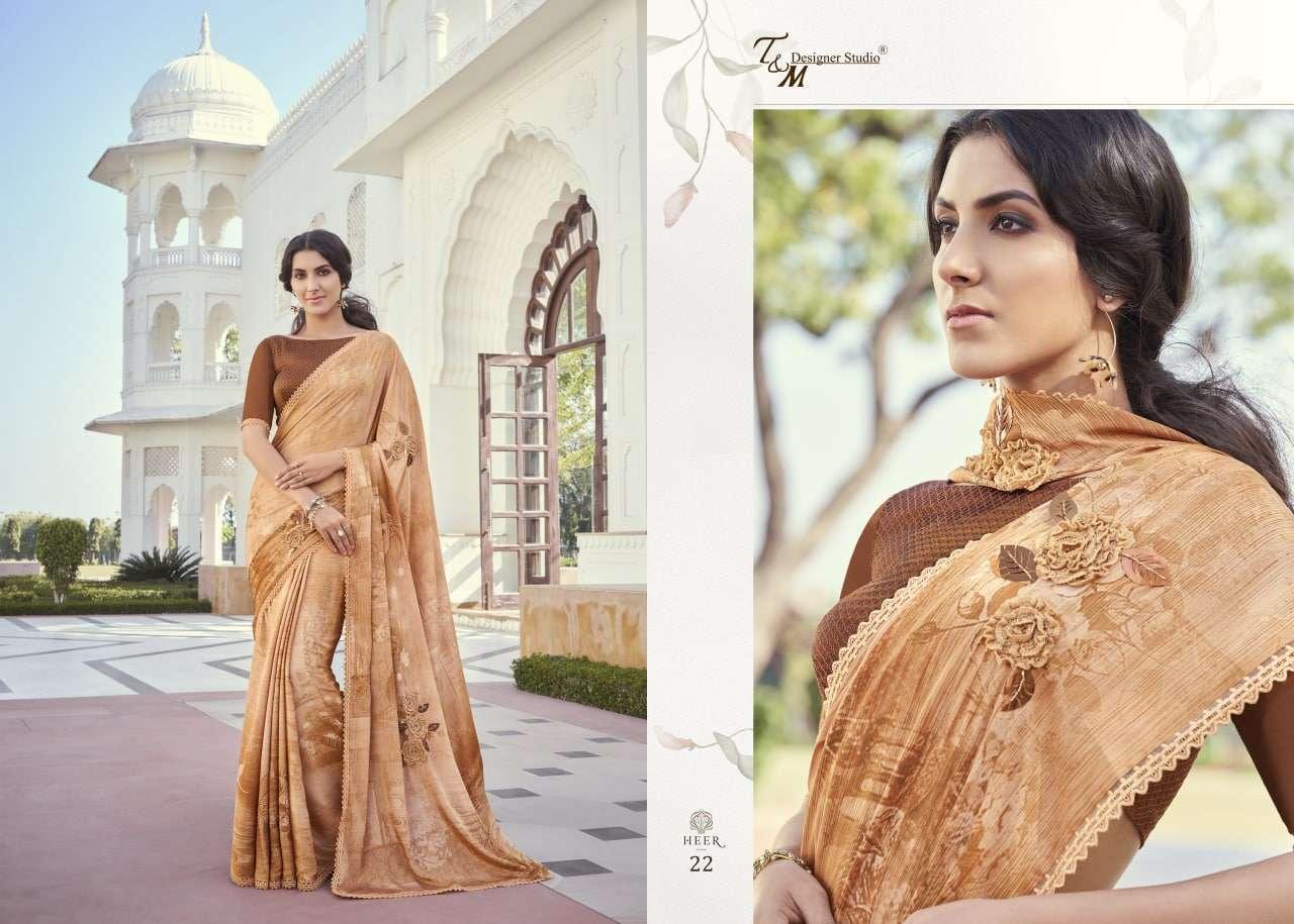 T&M Designer Studio Heer Fancy Designer Party Wear Sarees Collection 22