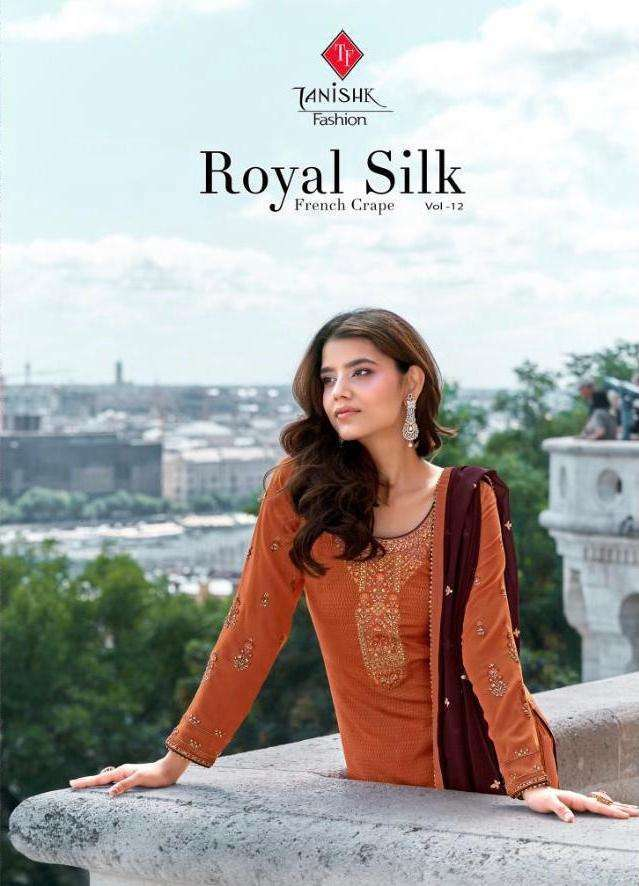 Tanishk fashion Royal Silk Vol 12 French Crepe Print with Embroidery Work Dress Material collection