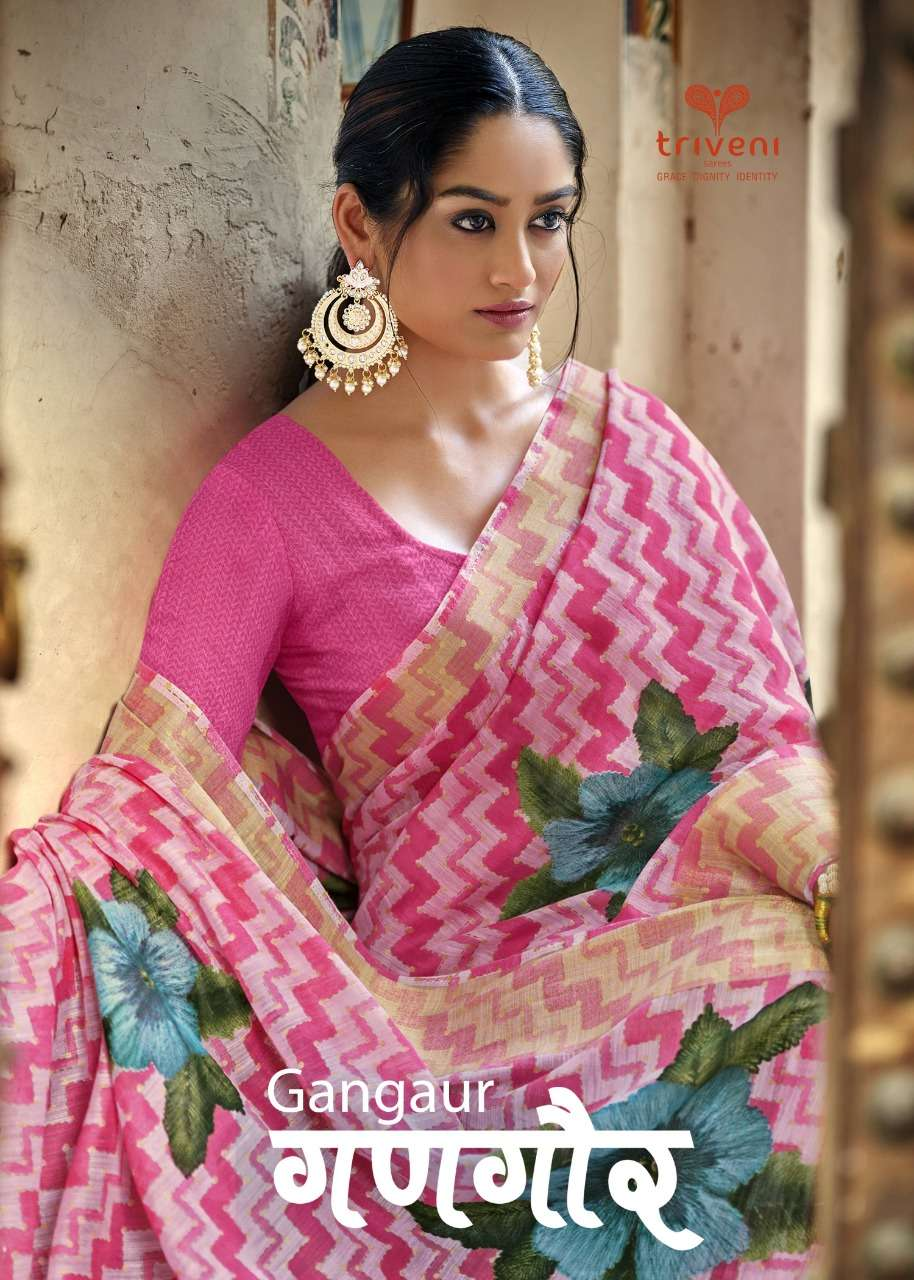 Triveni Gangaur Cotton Linen Leheriya  Print Sarees collection