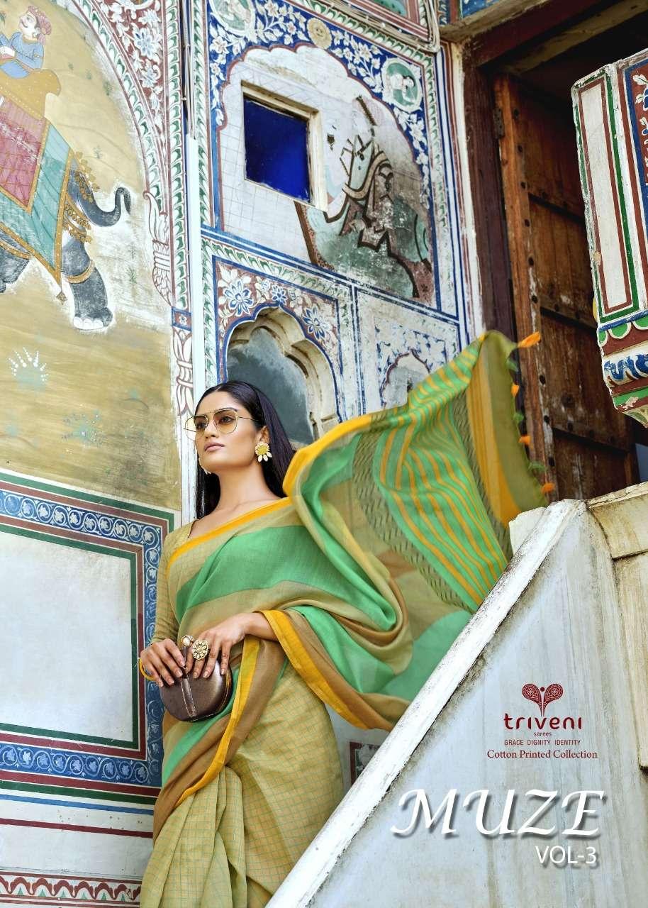 Triveni Muze Vol 3 Cotton Linen Printed Sarees collection