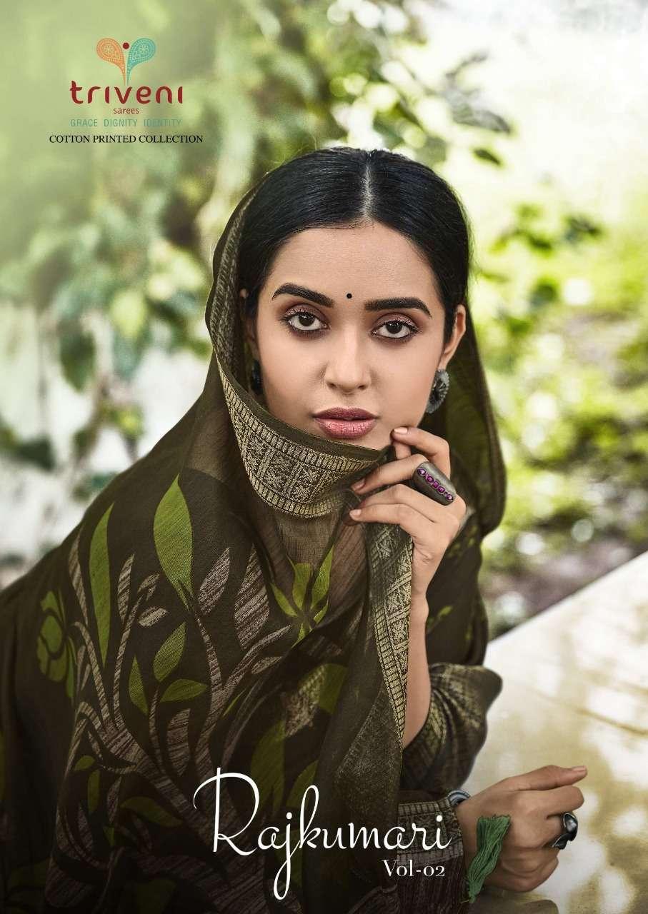 Triveni Rajkumari Vol 2 cotton Linen Print Sarees collection