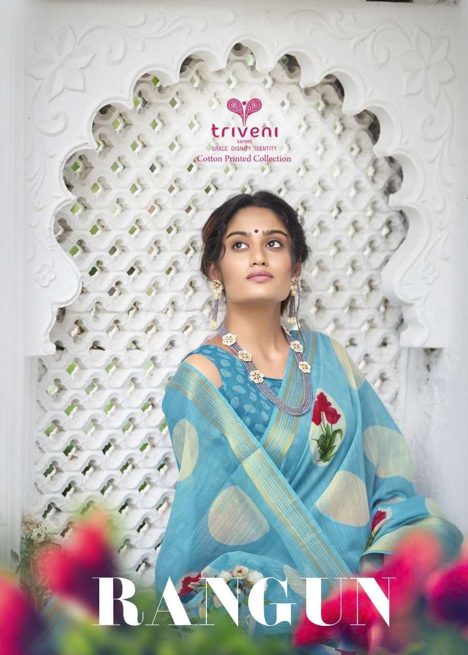 Triveni Rangun Cotton Linen Print sarees collection