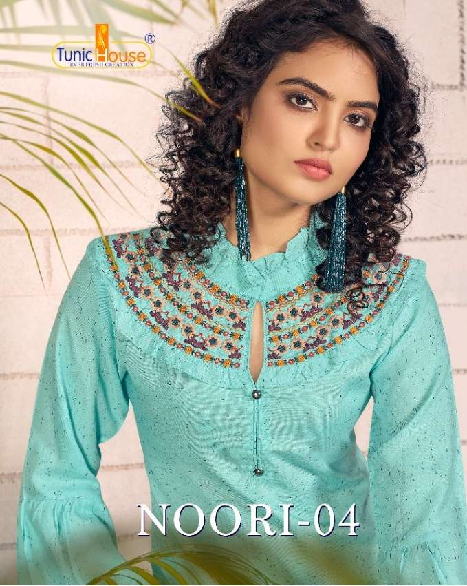 Tunic House Noori Vol 4 Rayon Two Tone With embroidery Work Short Tops Collection
