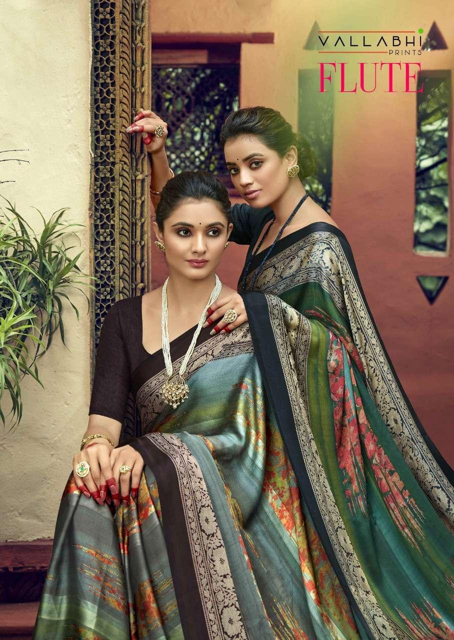 Vallabhi prints Flute Satin Rangoli Black patta sarees collection