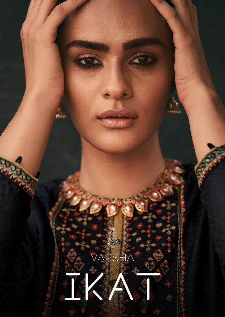 varsha Fashion Ikat Tusaar Woven With Embroidery Work Salwar Kameez Collection