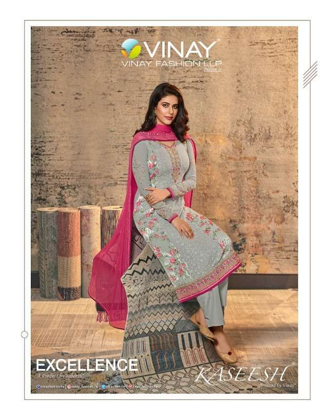 Vinay Fashion Kaseesh Excellence Brasso Digital print With Schiffli Work Dress Material collection
