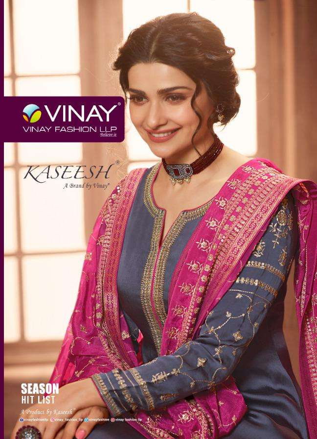 Vinay fashion Kaseesh Season Hit List Muslin Satin With embroidery Work Dress Material collection