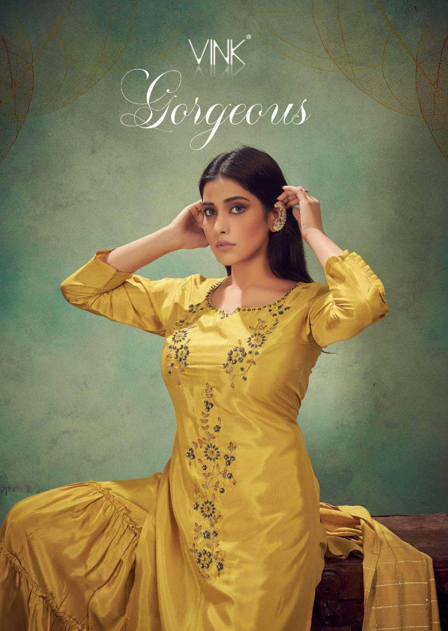 Vink Gorgeous Pure Viscose With Hand Work Kurta With Sharara Collection