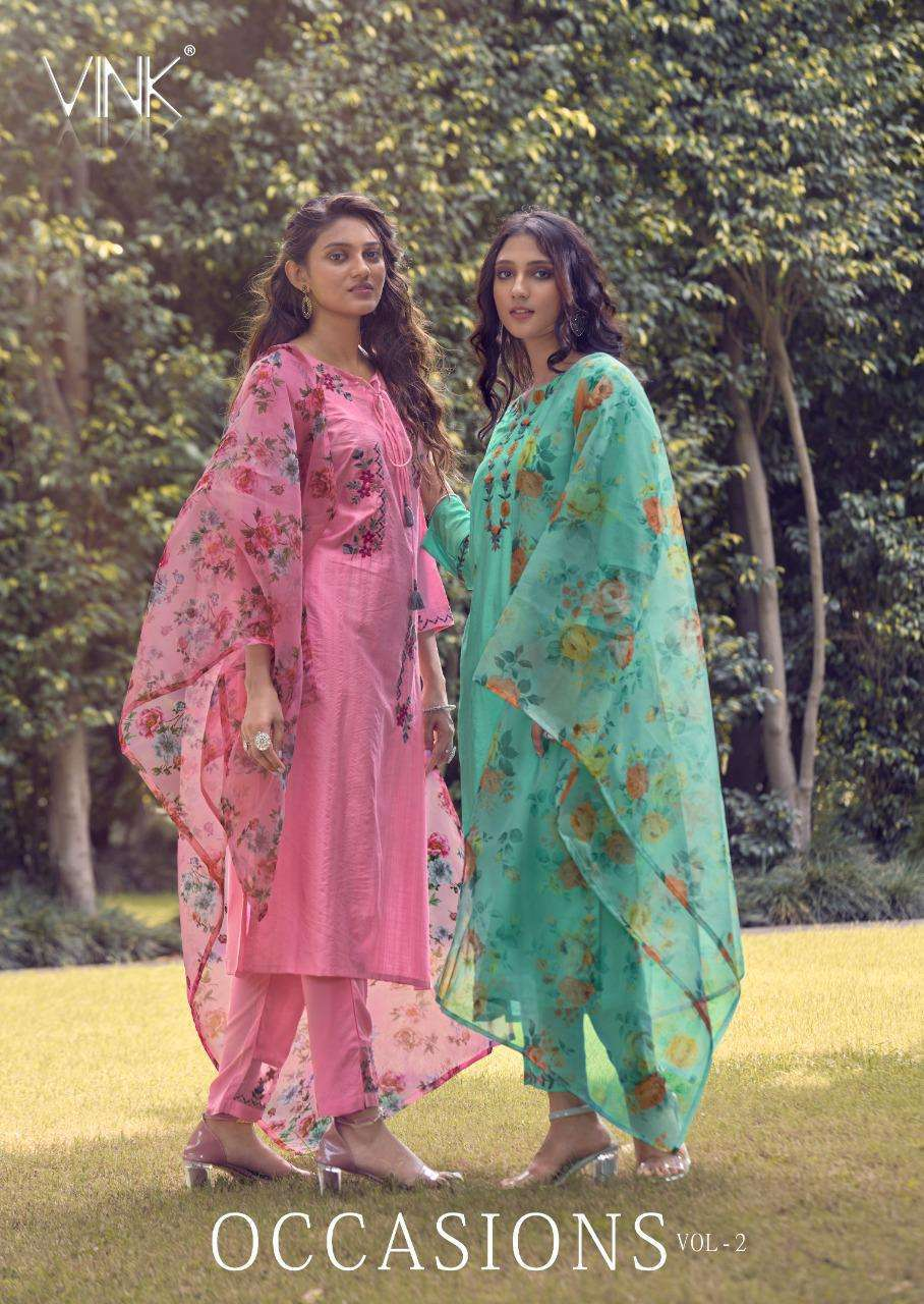 Vink Occasions Vol 2 Pure viscose with Work Kurti With Pant Dupatta Collection
