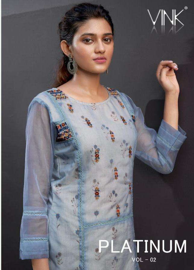 Vink Platinum Vol 2 Organza Printed Hand Embroidery Work Kurti With Pant Collection