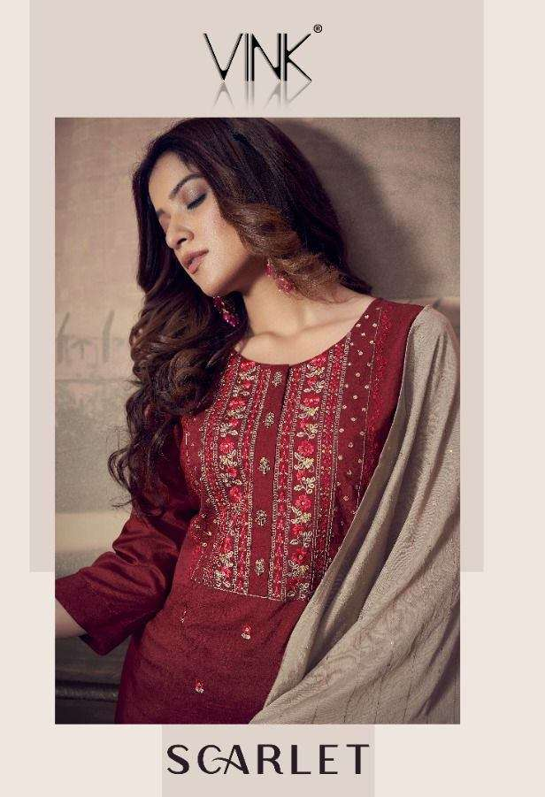 Vink Scarlet silk with Embroidery Work Kurti With Sharara Dupatta Collection