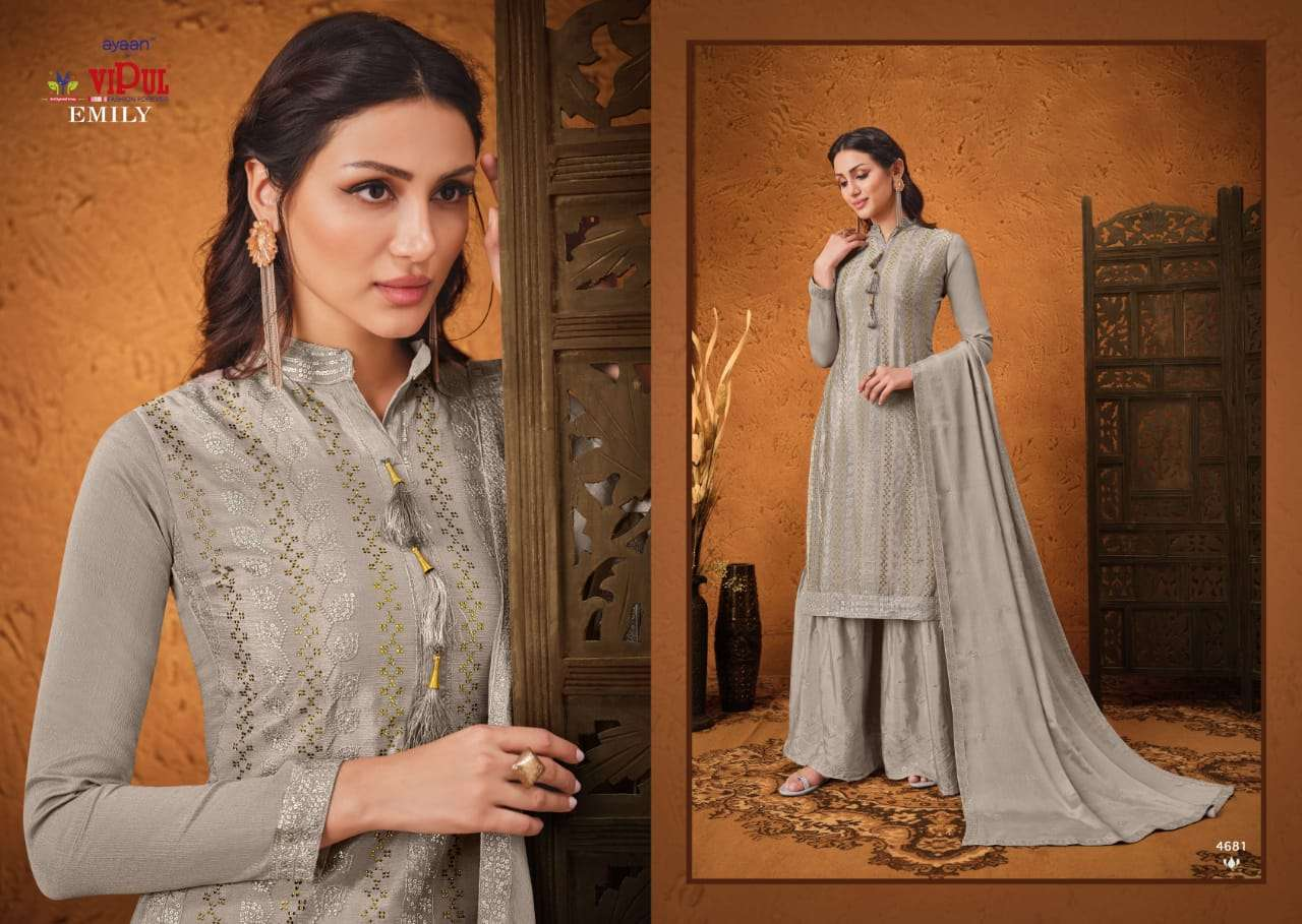 VIPUL EMILY CHINON SEQUENCE WITH HAND WORK SALWAR KAMEEZ COLLECTION 05 05