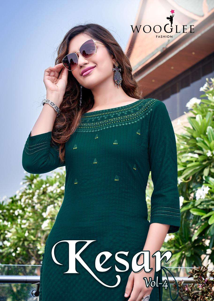 Wooglee Fashion Kesar Vol 4 Rayon weaving With Embroidery Hand Work Kurti With Pant Collection