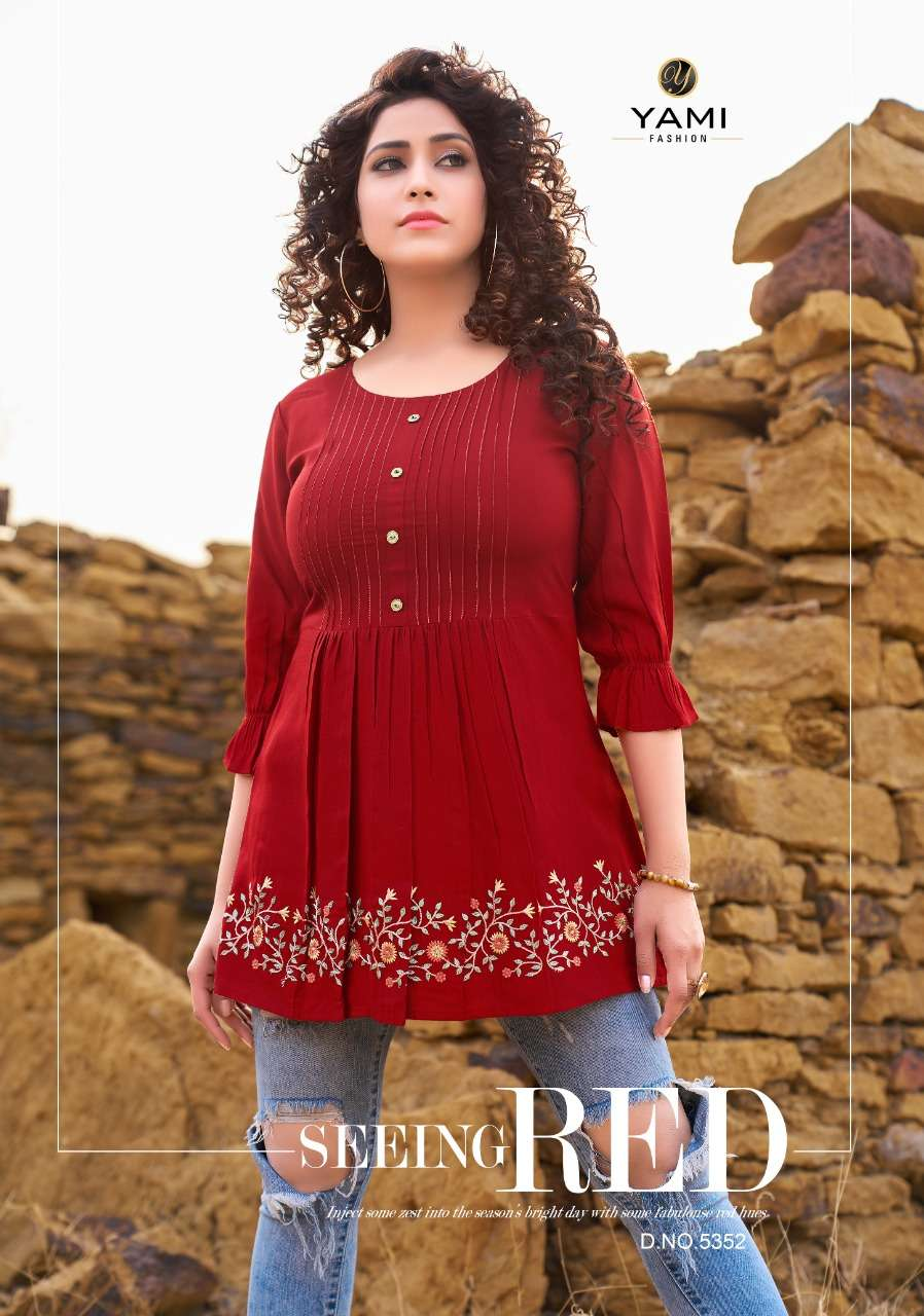 Yami fashion Bold Vol 4 Rayon With embroidery Work Short Tops Collection