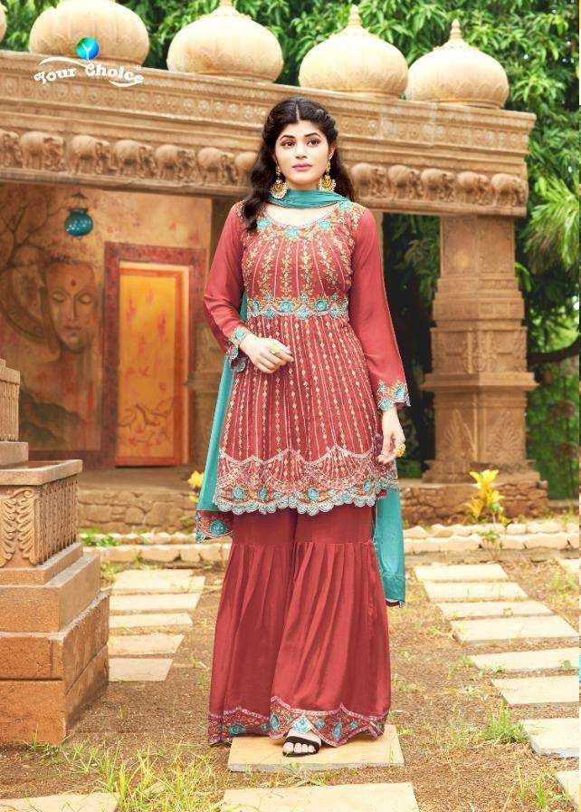 Your choice Lakme Heavy chinon With Embroidery Work Dress Material collection