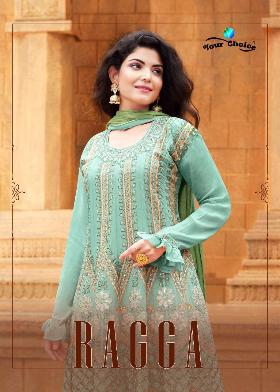 Your Choice Ragga Heavy chinon With embroidery Work Sharara Suits collection