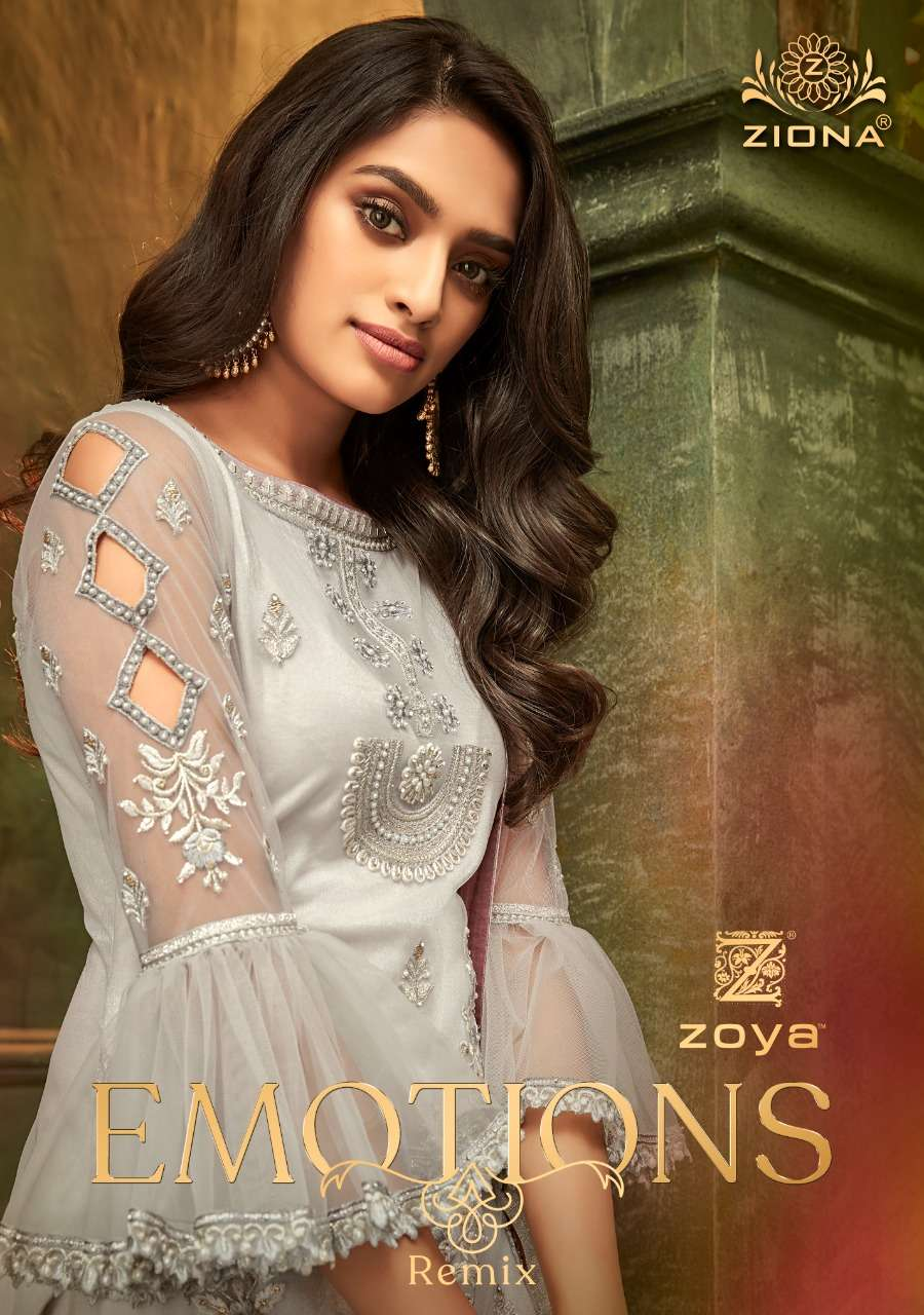 Zoya Ziona Emotions Remix Georgette With Embroidery Work Designer Salwar Suits Collection