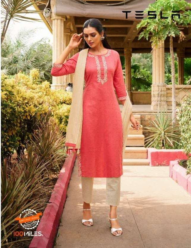 100 Miles Tesla Cotton With Embroidery Work Kurti With Pant Dupatta Collection