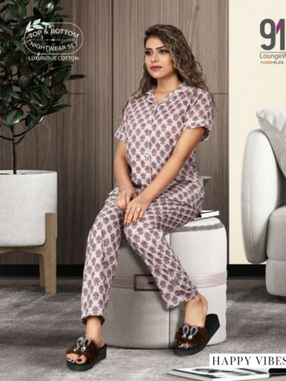 91Shades Happy Vibes Pure cotton Printed night Wear collection