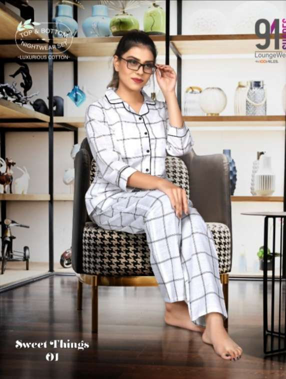 91Shades Sweet Things Pure cotton Printed night Wear collection