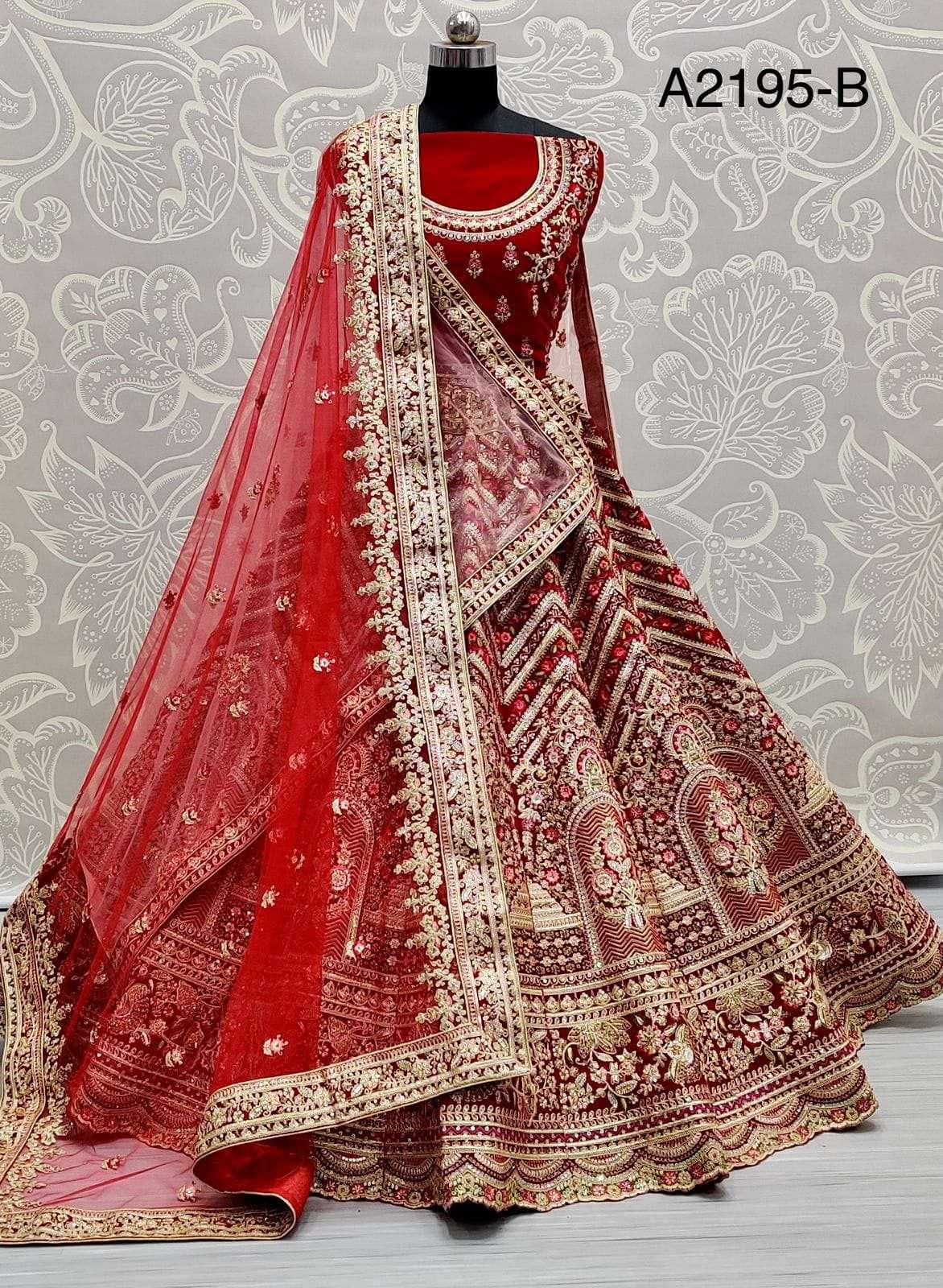 A2195 Velvet With Sequnce Work Designer Bridal Lehenga Choli 02