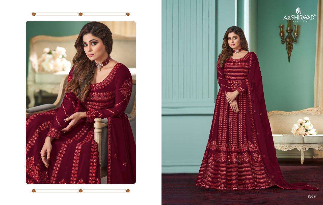 Aashirwad Creation Rose Real Georgette With Designer Work Readymade Suits Collection 01