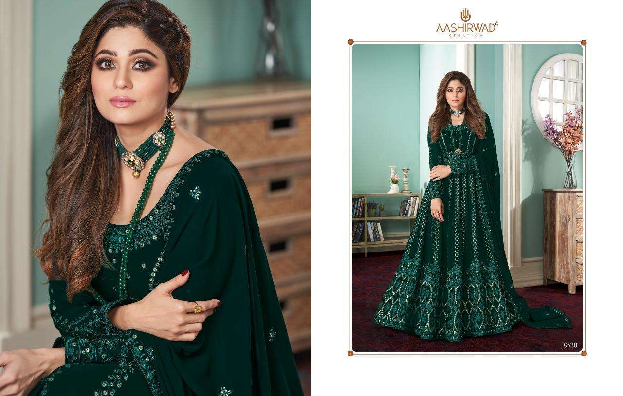 Aashirwad Creation Rose Real Georgette With Designer Work Readymade Suits Collection 02