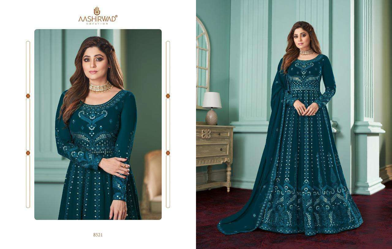Aashirwad Creation Rose Real Georgette With Designer Work Readymade Suits Collection 03