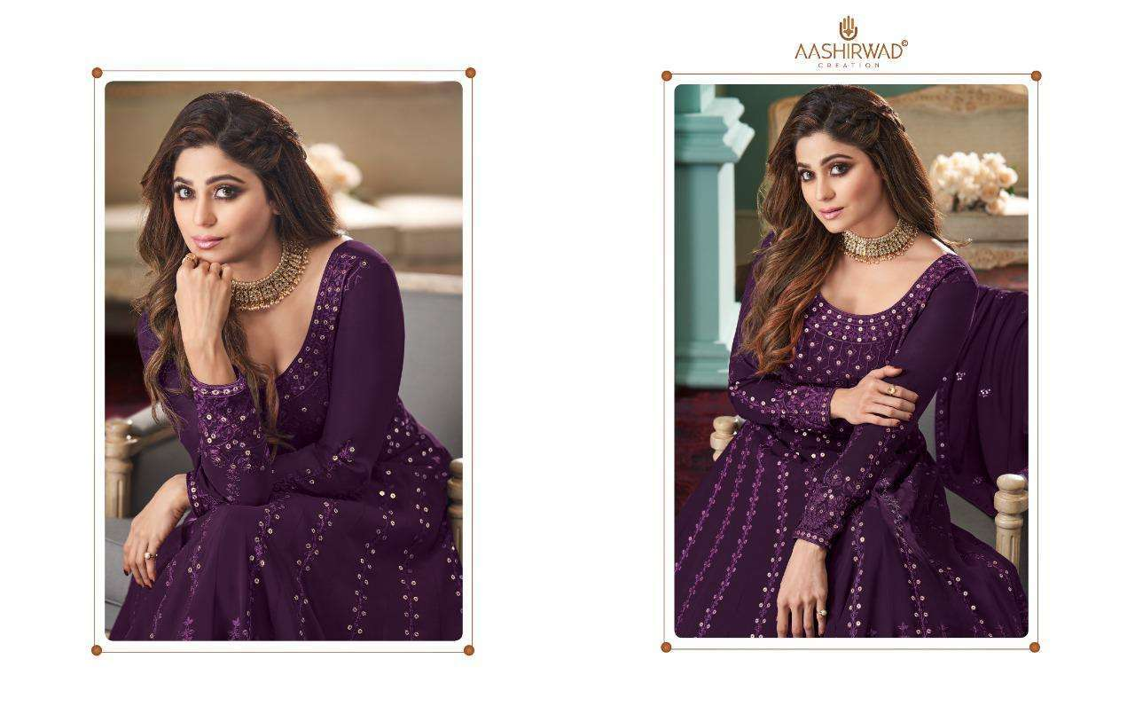 Aashirwad Creation Rose Real Georgette With Designer Work Readymade Suits Collection 04