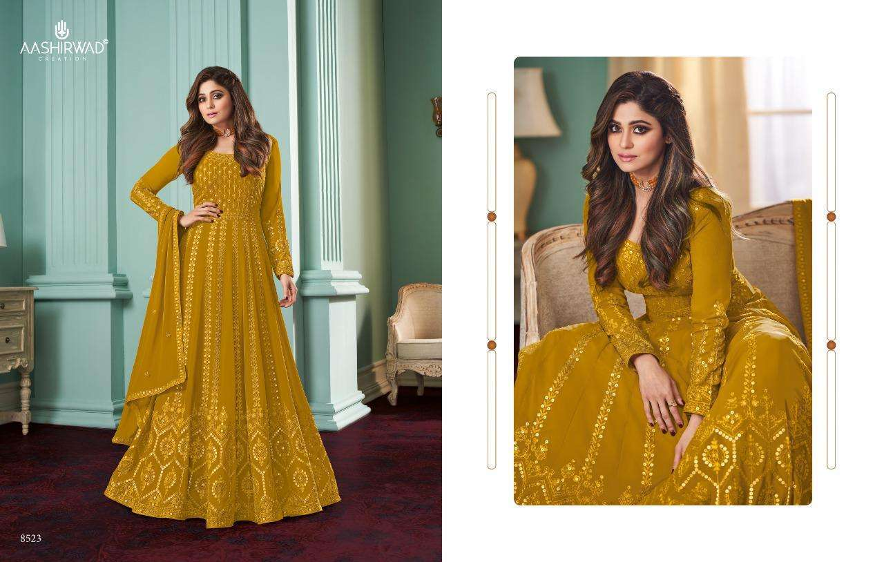 Aashirwad Creation Rose Real Georgette With Designer Work Readymade Suits Collection 05