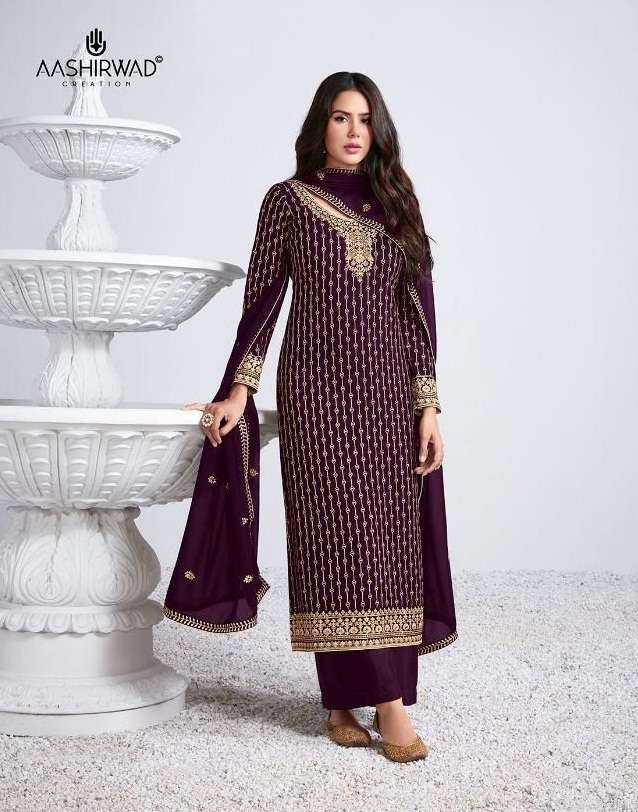 Aashirwad Creation Sayli Georgette with Embroidery work Dress material collection