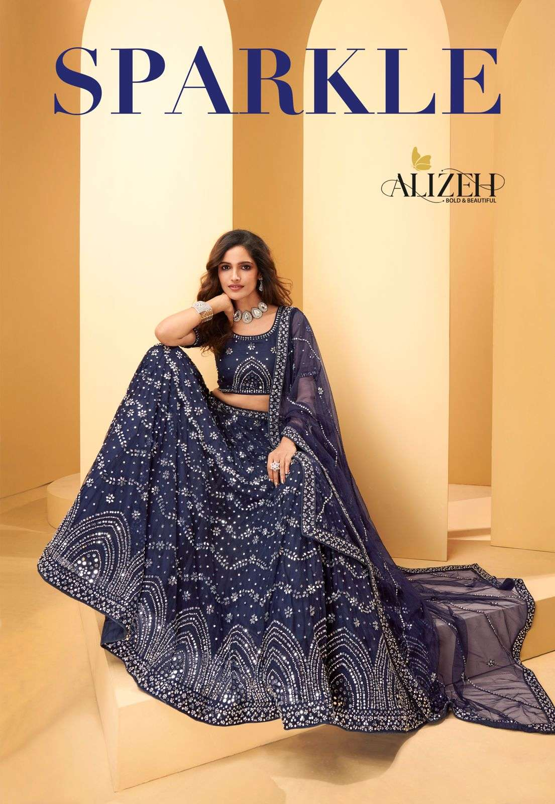 Alizeh Sparkle net With Thread Embroidery Mirror work Designer Lehenga Choli Collection