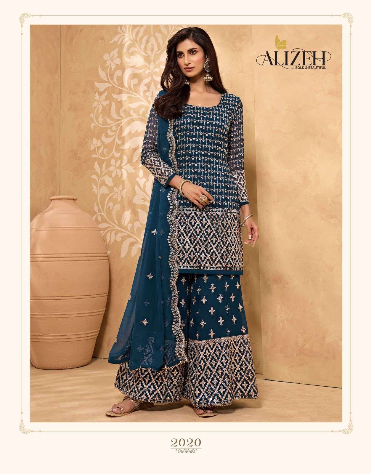 Alizeh Zaida Vol 5 Georgette With Fancy Work Readymade Sharara Collection 03