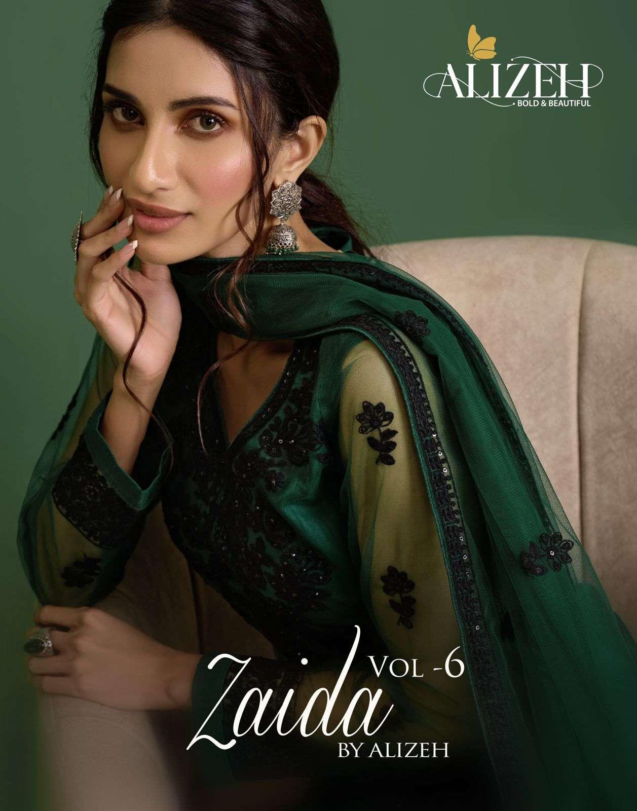 Alizeh Zaida Vol 6 net with Thread Embroidery Sequence Work dress Material Collection