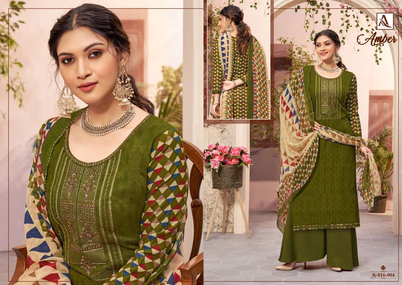 Alok Suits Amber Viscose Rayon Print With Embroidery Work Dress Material Collection 010