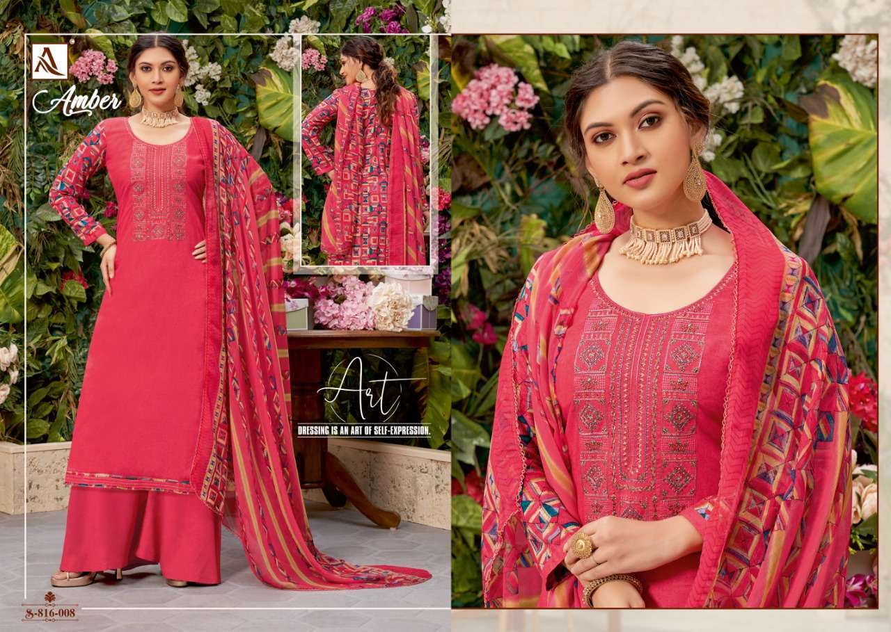 Alok Suits Amber Viscose Rayon Print With Embroidery Work Dress Material Collection 07