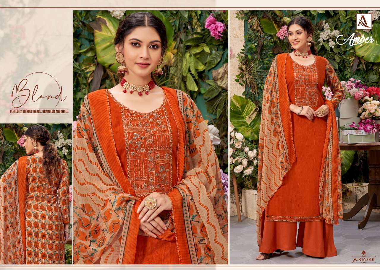 Alok Suits Amber Viscose Rayon Print With Embroidery Work Dress Material Collection 08