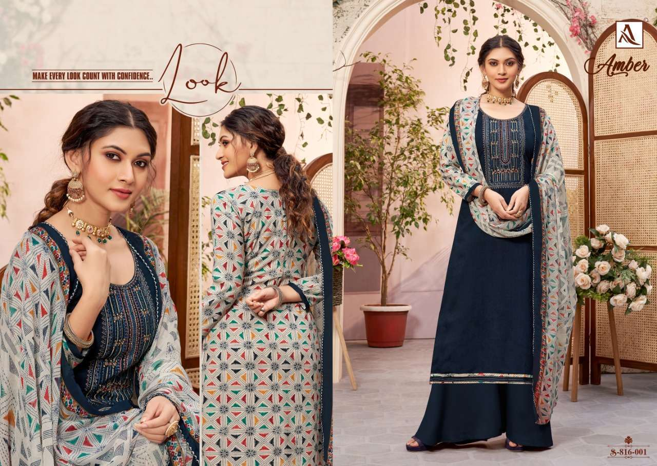 Alok Suits Amber Viscose Rayon Print With Embroidery Work Dress Material Collection 09