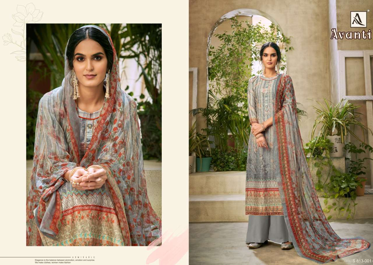 Alok Suits Avanti Jam Digital Print With Embroidery Work Dress Material Collection 01