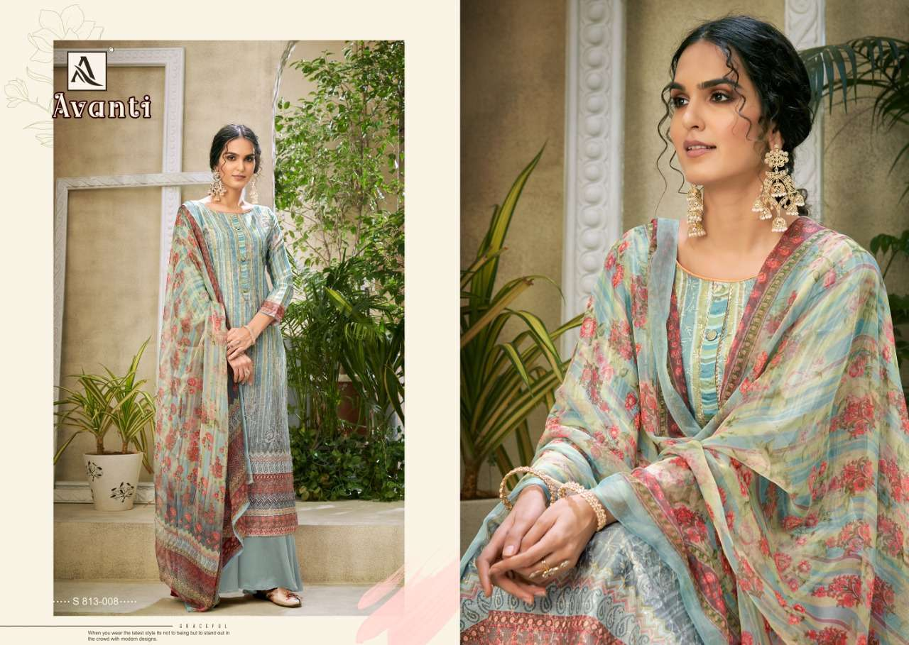 Alok Suits Avanti Jam Digital Print With Embroidery Work Dress Material Collection 04