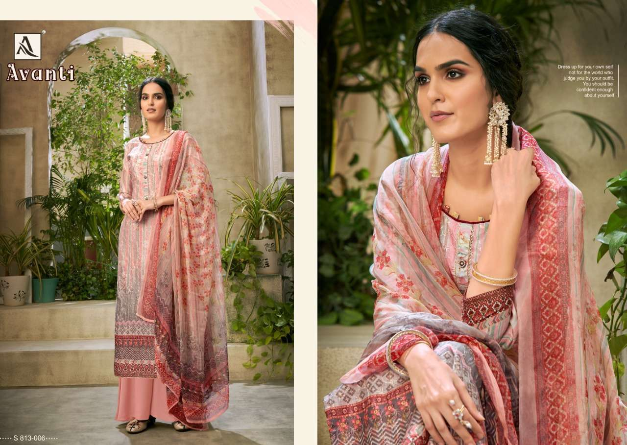 Alok Suits Avanti Jam Digital Print With Embroidery Work Dress Material Collection 08