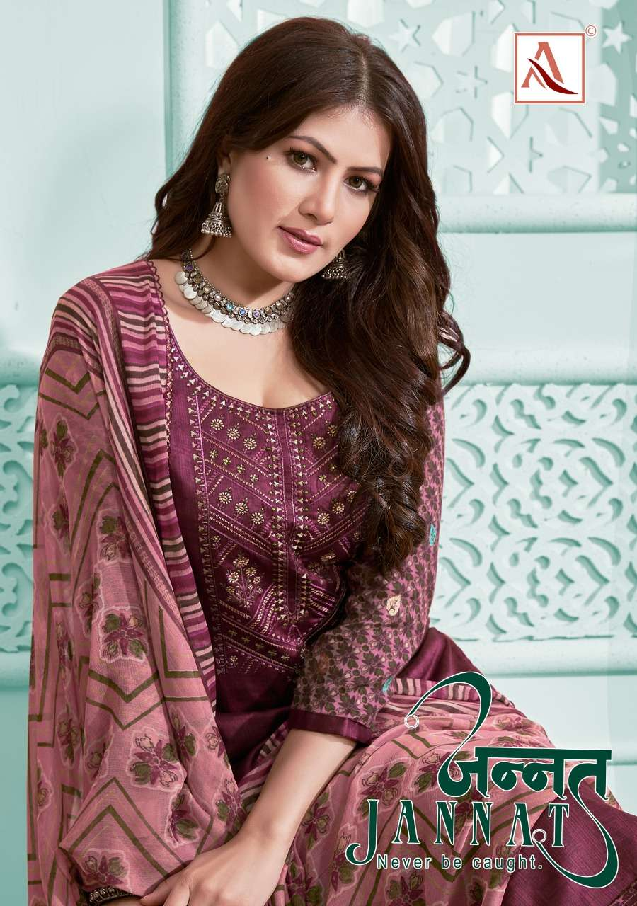 Alok Suits Jannat Jam Cotton Print With Embroidery Work Dress material Collection