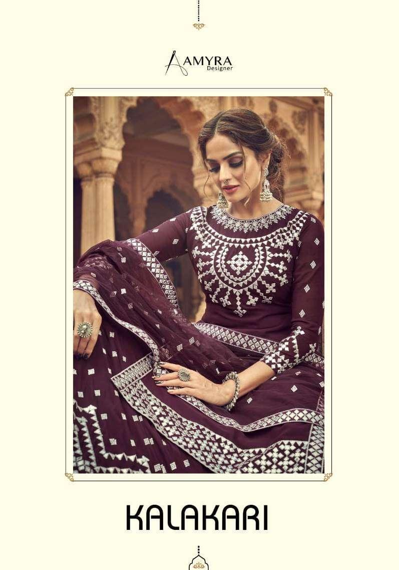 Amyra Designer Kalakari Georgette With Embroidery Mirror Work Salwar Kameez Collection