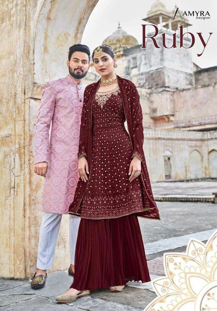 Amyra Designer ruby Georgette With Embroidery Work Readymade Suits collection