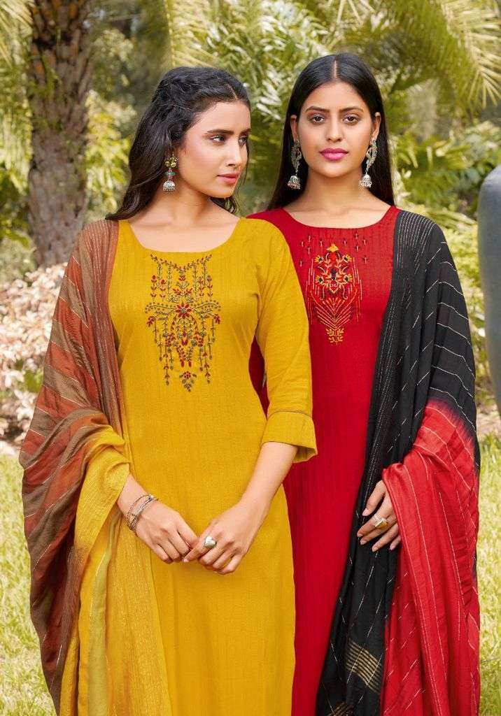 Anieya Samira Vol 1 Viscose With Khatli Work Kurti With Pant dupatta Collection