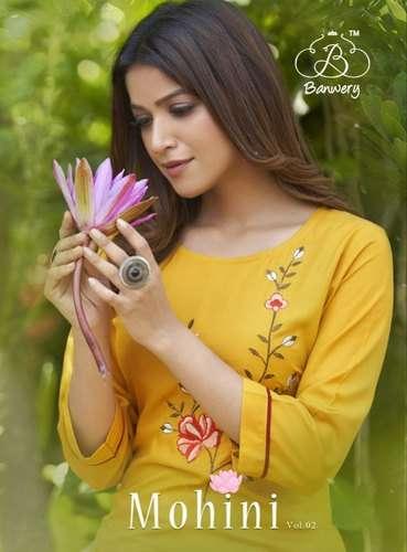 Banwery Mohini Vol 2 rayon With Embroidery Work Kurtis Collection